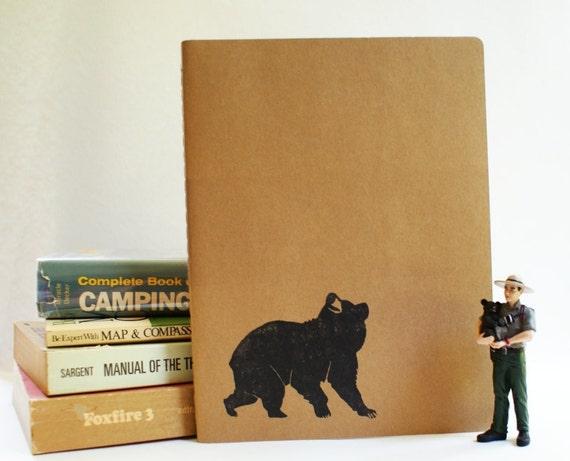 Exploring Bear Rustic Western Camp Notebook - Large Moleskine Journal using Hand Carved Design