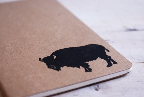 Buffalo Prairie Southwest Western Moleskine Journal Notebook - Pocket Size - Hand Carved Stamp