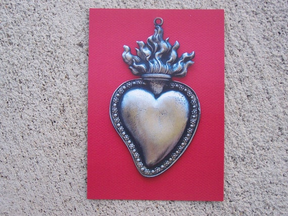 Lot of 12 Flamed Sacred Heart Milagro Picture Post Cards