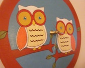 Owl Buddies - Hand-Painted Record Clock - Up-Cycled Vinyl Record (custom with numbers)