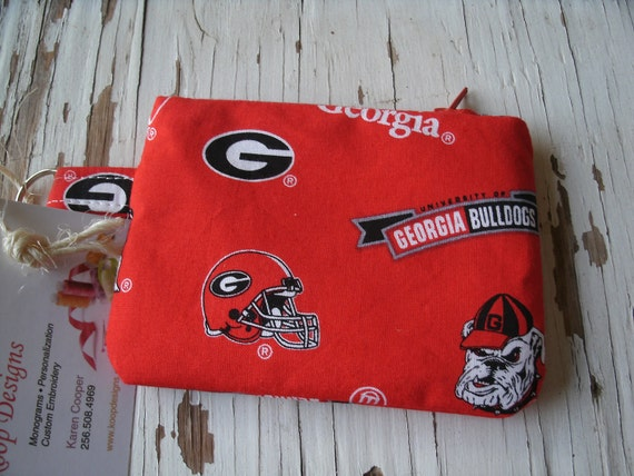 University of Georgia Fabric Zipper Pouch with key ring