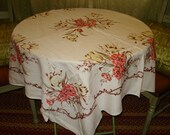 Speaks Softly But Makes A Statement: Mid Century BEAUTY of A LINEN Floral Vintage Tablecloth