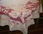Sweet & CHARMING and So So Shabby Chic Vintage Mid Century Pink Tablecloth - Treasury Item X2