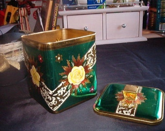 Vintage Emerald, Yellow and Gold BARET WARE ENGLISH Tin With Tole Floral Motif