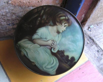 Famous, Captivating ENGLISH, Round THORNES Vintage Lithographed Toffee Tin (The Most FAMOUS) Drawing of a Child Mid Century)