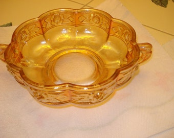 Ever Glistening, PERFECT CONDITION Mid Century Vintage Marigold Carnival Glass Bowl