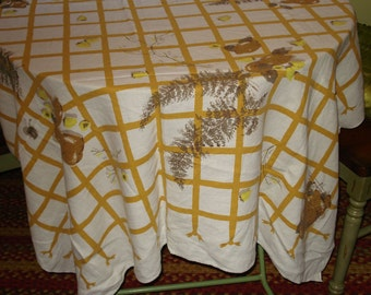 Gorgeous Fall Colors: Mid Century HARDY CRAFT Vintage Fruit/Branches/Ferns Vintage EAMES Era Linen Tablecloth