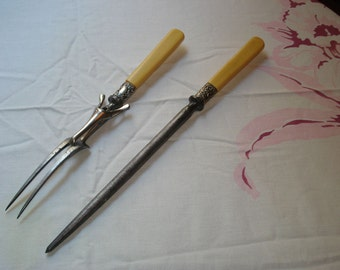 RARE 1800's  George H. COWEN Fork & Honing Silver and Steel with Faux Bone Handle