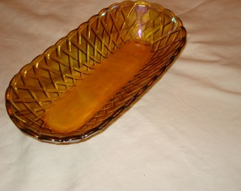 Great Mid Century MARIGOLD CARNIVAL GLASS Bread, Relish or Anything Vintage Bowl