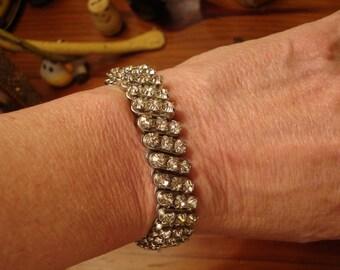 Vintage Prong-Set, THREE-ROW Sparkling, Clear Rhinestone Expansion Bracelet - Superb