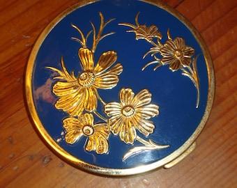 Rare 1930's Exceptional BLUE ENAMEL w/Embossed Brass Flowers Art DECO Rex Fifth Avenue Oversize Vintage Superlative Powder Compact