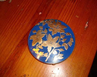 Vintage Large Rex Fifth Ave BLUE ENAMEL & BRASS Unused Compact - So Lovely
