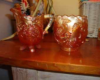 Kaleidoscope Beauty: Magnificent English CARNIVAL GLASS Vintage Creamer Pitcher/Sugar - STUNNING
