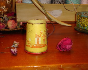 LITTLE YELLOW PITCHER: Very Vintage Tin Toy Pitcher W/Lithographed House/Trees/Birds - 1930's