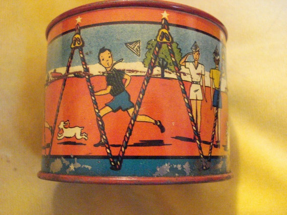 VERY RARE 1930's Exceptional Lithographed Vintage 1930's Tin Child's DRUM Bank - Treasury Item X 5