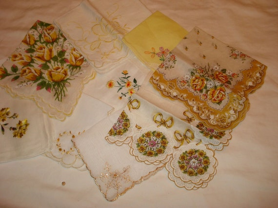 SALE 5.00 Off - Mellow Yellow: NINE Lovely Mid Century Yellow & Gold Vintage Shabby Chic, Floral Handkerchiefs
