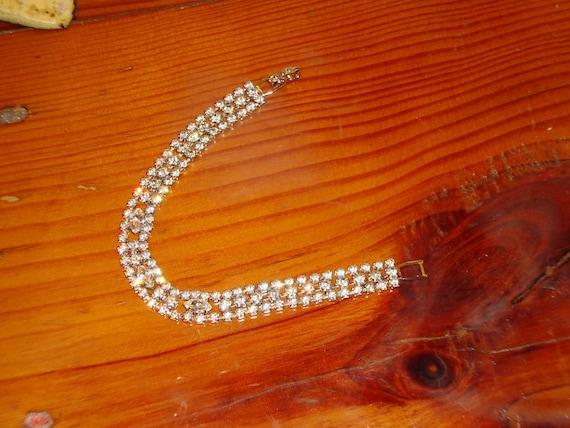 EISENBERG ICE Signed, Oh So Delicate & Breathtaking 3 ROW Vintage Rhinestone Bracelet  - 1940's/1950's