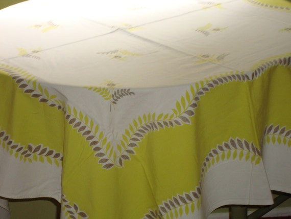 "Salute to the Fifties: Great CHARTREUSE and Gold 52"" x 53"" Mid Century FLOWERS & LEAVES Vintage Tablecloth - Treasury Item"