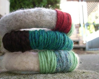 CLEARANCE SALE three handknit chunky felted bangles in neutrals