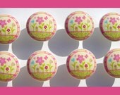 8 HAPPY FLOWERS Yellow Print kids girls Dresser Drawer Knobs