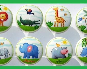 10 Jungle Animal Safari dresser drawer knobs boys kids