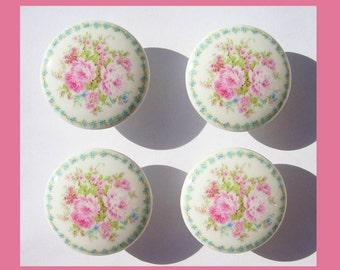4 PINK ROSE BOUQUET  tiny blue rose border kids girls Dresser Drawer  Knobs