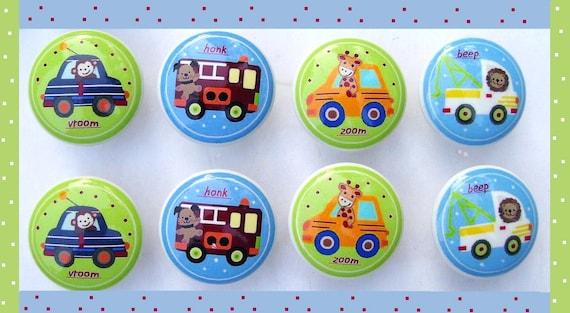 8 set Vroom Cars trucks animals boys baby kids mtm bedding Dresser Drawer Knobs