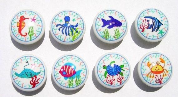 8 OCEAN FISH SEALIFE  kids girls boys Dresser Drawer knobs pulls