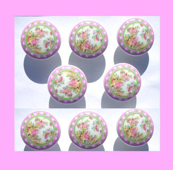 8 set Pink Green Toile kids girls Dresser Drawer Knobs