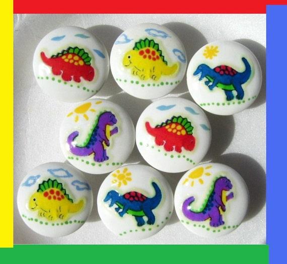 8 Colorful Dinosaur Dresser Drawer Knobs Pulls By Patrinasplace