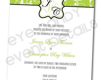 Green Damask Wedding Rehearsal Shower Invitation -  Customized DIY Printable