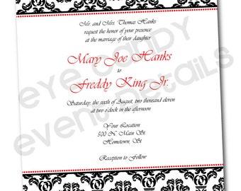 Classic Damask Wedding Rehearsal Shower Invitation -  Customized DIY Printable