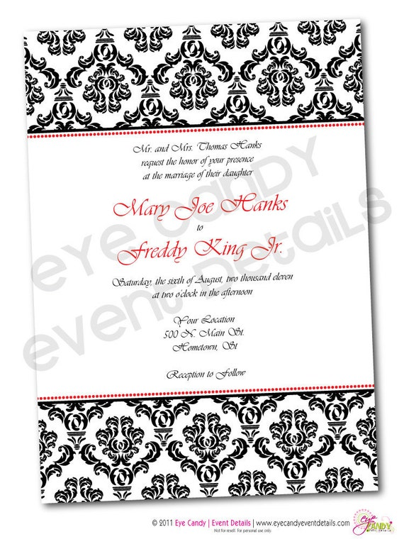 Classic Damask Wedding Rehearsal Shower Invitation -  Customized DIY Printable