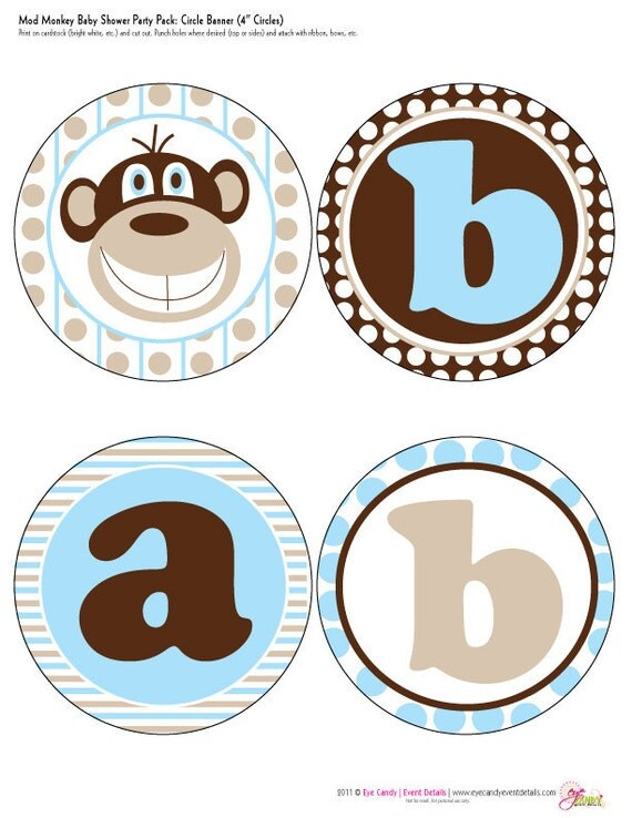 Mod Monkey Baby Boy Shower Customized DIY Printable Banner