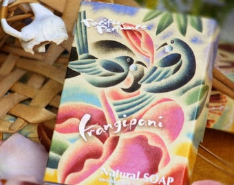 Frangipani Soaps in recycled card box