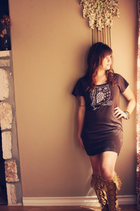 XLARGE screenprinted OWL tshirt dress in BROWN