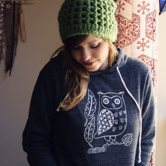 SMALL screenprinted OWL sweatshirt hoodie in GREY