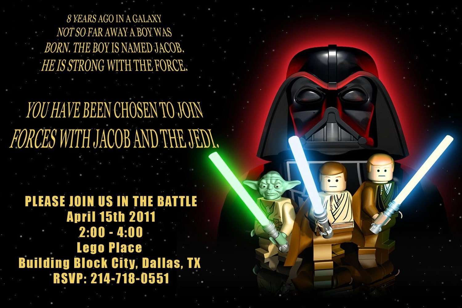 Star Wars Personalized Party invitation Digital by fairylilycrafts