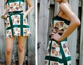 Revamped vintage grunge granny quilt pattern mini dress XS/S