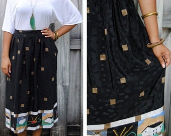 Vintage Maxi Hippie Skirt / Long High Waist Skirt / Retro Design / Black Full Skirt / M / Medium