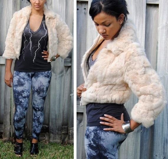 super COZY cropped RABBIT FUR jacket S/M