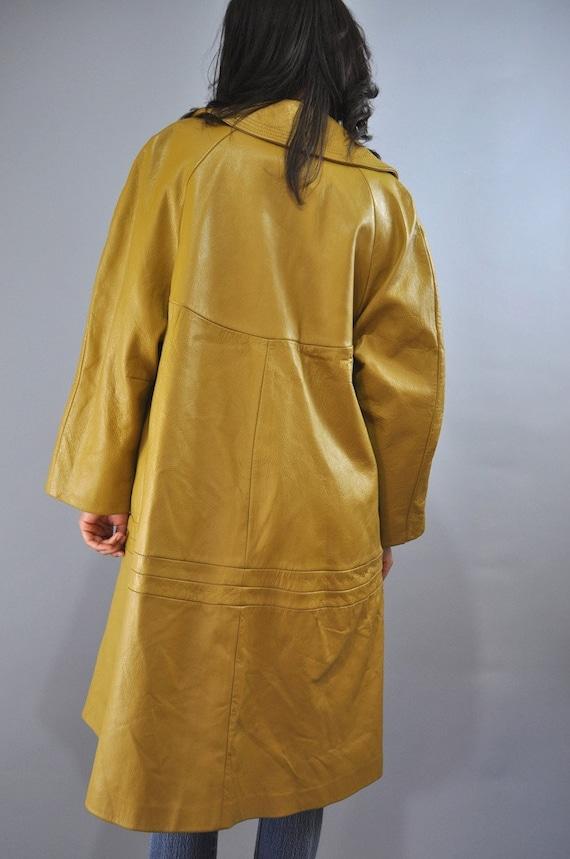 Mustard Yellow 60s Mod Leather Swing Coat Trapeze Coat M L