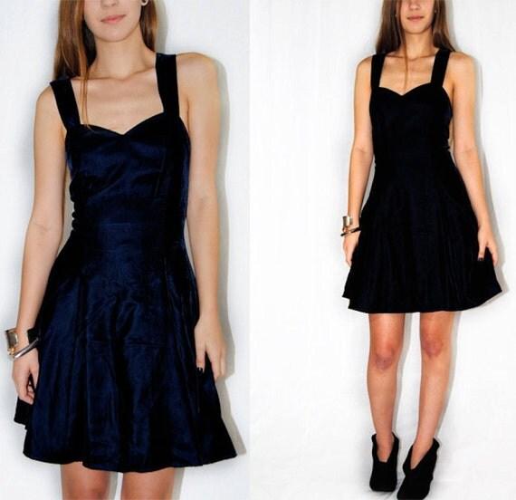 Vintage 80s Mini Dress / Blue Velvet Babydoll Dress / Full Skirt Dress / S / M / Small / Medium