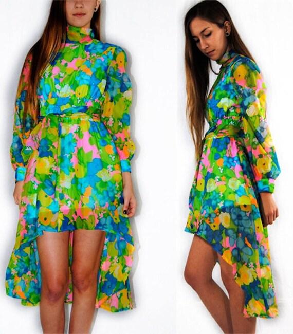 Reserved until Feb 6 for Shmalshmal / Vintage sheer dress / floral dress / fishtail dress w/ high neckline s small