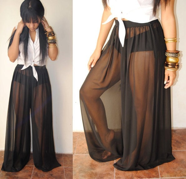 Sheer Wide Leg Pants | Gpant