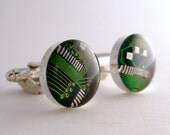 CLEARANCE Circuit Board Cufflinks -- Green, Round Domed