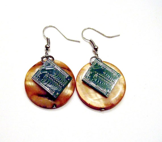 Circuit Board Pearlescent Earrings