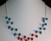 Turquoise and Red Coral Bead Necklace