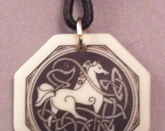 Etched Celtic Horse Pendant on Leather Cord Necklace