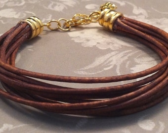 Multiple Leather Strand Cuff